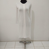 baju atasan fashion wanita warna putih polos tipis lengan panjang