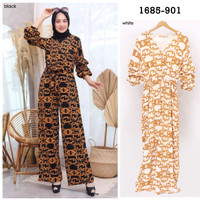 DRESS JUMPSUIT WANITA FASHION MUSLIM - 898 - Hitam