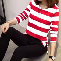 kaos wanita salur ALICE / baju atasan wanita salur terbaru - Merah, L