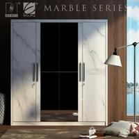 lemari pakaian 4 pintu minimalis motif marble 200cm