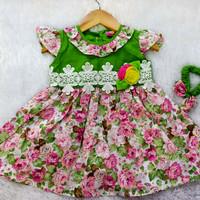 dress baby girl/summer dress baby girl/baju anak baby katun/dress bayi - Hijau, M