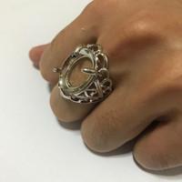 Kerangka Cincin Batu Akik Pria model Triangle warna Putih/Silver murah