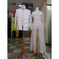 Kebaya akad//Kebaya sepasang baju Pengantin modern akad nikah putih