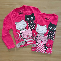 Baju Atasan Kaos Anak Perempuan Lengan Panjang Kucing Cat Glitter