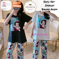 Piyama Snow White Set 7 per 8 Fashion Wanita Baju Tidur Import Ori