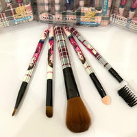 Brush make up set 5 kuas motif lucu kuas lembut - Cokelat