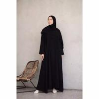 Baju Dress Abaya Muslim Gamis Arab Hitam Polos by Noer Abaya