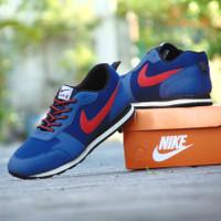 ( Jumbo ) Sepatu Sneakers Nike Waffle Trainer Biru Merah Casual Pria