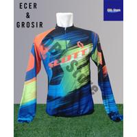 Baju Sepeda Olahraga SPORTY Kaos Balap Gowes print Premium kantong - Scott, L