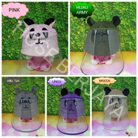 Topi Anti Corona Bayi / Face Shield Baby - Panda Series - Abu Tua