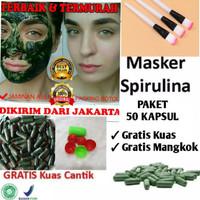 Masker wajah obat jerawat herbal spirulina paket isi 50 kapsul