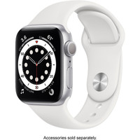 Apple Watch Series 6 44mm Silver Aluminum Case with White Sport Band