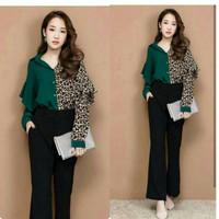 Baju Atasan Wanita Leopard Big Size Lianako Hijau hitam