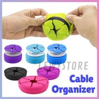 Pelindung Kabel Earphone Charger Organizer Silikon Case Multicolor - Putih