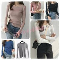 O Neck Knit Premium Wanita / Baju Rajut Import / Manset Lembut Cewek