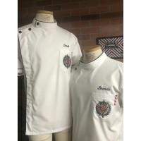 Kameja/Baju/seragam Barber/koki putih list hitam japan drill