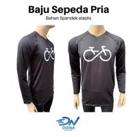 Baju sepeda cowok lengan panjang   baju sepeda pria warna hitam