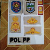 Bordir satpol pp pol pp timbul untuk baju krem
