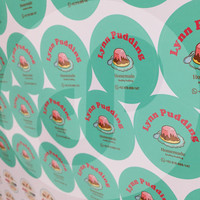 Stiker Label Logo Makanan/ Minuman Bahan Vinyl GLOSSY, Free Cutting