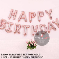 Balon Huruf Happy Birthday SET ROSE GOLD / Balon HBD SET ROSE GOLD