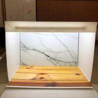 Paket studio mini dan alasfoto ukuran A2 (45x32) motif marmer kayu