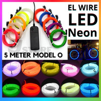 El Wire / Flexible Neon LED Wire Lampu 5 Meter with Battery Inverter