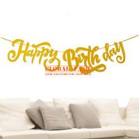 banner happy birthday latin gold / bunting flag hbd latin cutting 2