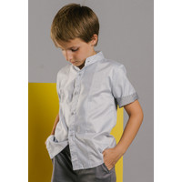 ORAMI - Feather & Flynn Aiden Short Sleeves Shirt in Light Gray Stripe