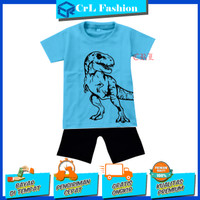 Setelan anak laki-laki motif Dino Fashion biru - 1 tahun