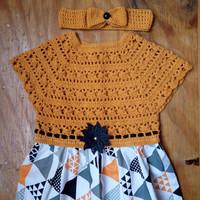 Baju Rajut Bayi Perempuan Kuning kunyit set