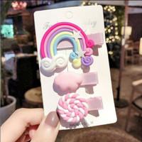 ISI 3 PC Jepitan Rambut Rainbow Clay Aksesoris Rambut Import bangkok