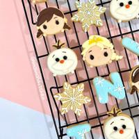 butter cookies dengan icing | kukis hias tema tsum tsum elsa frozen