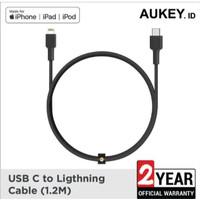 Aukey kabel charger Iphone Braided Nylon MFi USB-C to Lightning Cable