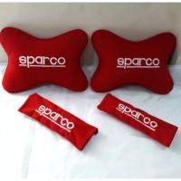 Bantal Mobil Set 2 in 1 Logo Spar co Merah1 / Headrest Car Set 2in1