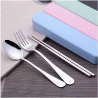 Set sendok Travel 3 in 1 higienis untuk makan di luar rumah