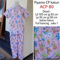 piyama katun pajamas amro / babydoll setelan busui full kancing depan