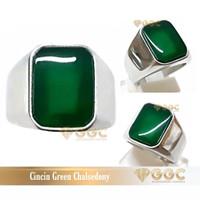 Cincin Batu Green Chalsedony Kotak - 7