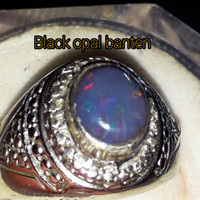 cincin black opal banten/kalimaya banten asli/batu kalimaya black opal