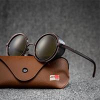 Kacamata Hitam Steampunk Retro Vintage Motor Classic - Brown