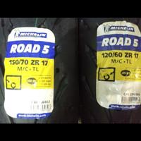 Ban Michelin Pilot Road 5 120/60 -17 & 150/70 - 17 SEPAKET