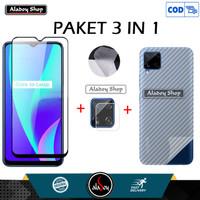 Tempered Glass Realme C15 2020 +Tempered Glass Camera + Skin Carbon