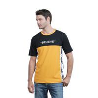baju pria keren pendek belive kuning HRT-16 - kaos casual remaja cowok