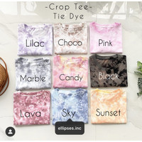 Ellipsesinc - Crop Tie Dye Lengan Pendek Panjang