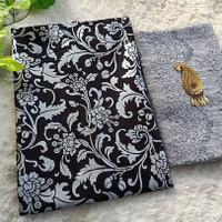 Kain batik Couple prada mutiara silver set brokat