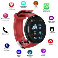 Bluetooth SmartWatch D18 pria Blood Pressure Round Sport Tracker