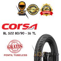 Ban luar motor matic 80/90-16 CORSA S22 tubeless, GRATIS pentil tbl