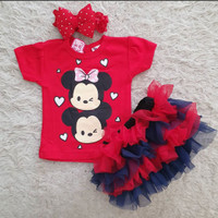 Tsum Tsum Set / Setelan Bayi Perempuan Lucu Murah / Baju Bayi Cewe