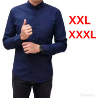 Baju Kemeja Pria Polos Lengan Panjang Big Size Jumbo XXL/XXXL