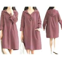 Hoddie Dress Jumbo, Baju Atasan Tunik Wanita