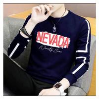 Kaos pria sweater lengan panjang cowok bahan babyterry baju NEVADA - Navy, M